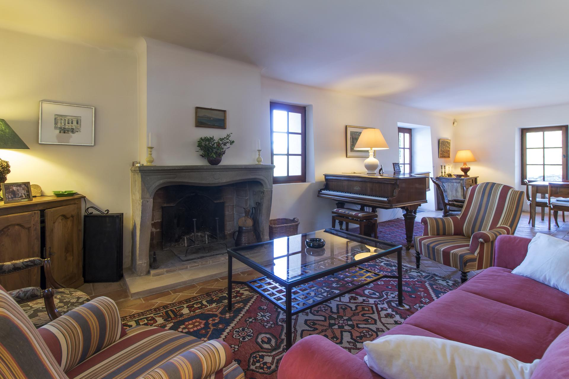 Cosy family lounge with fireplace, Bastide Du Charme, Provence, Lorgues.