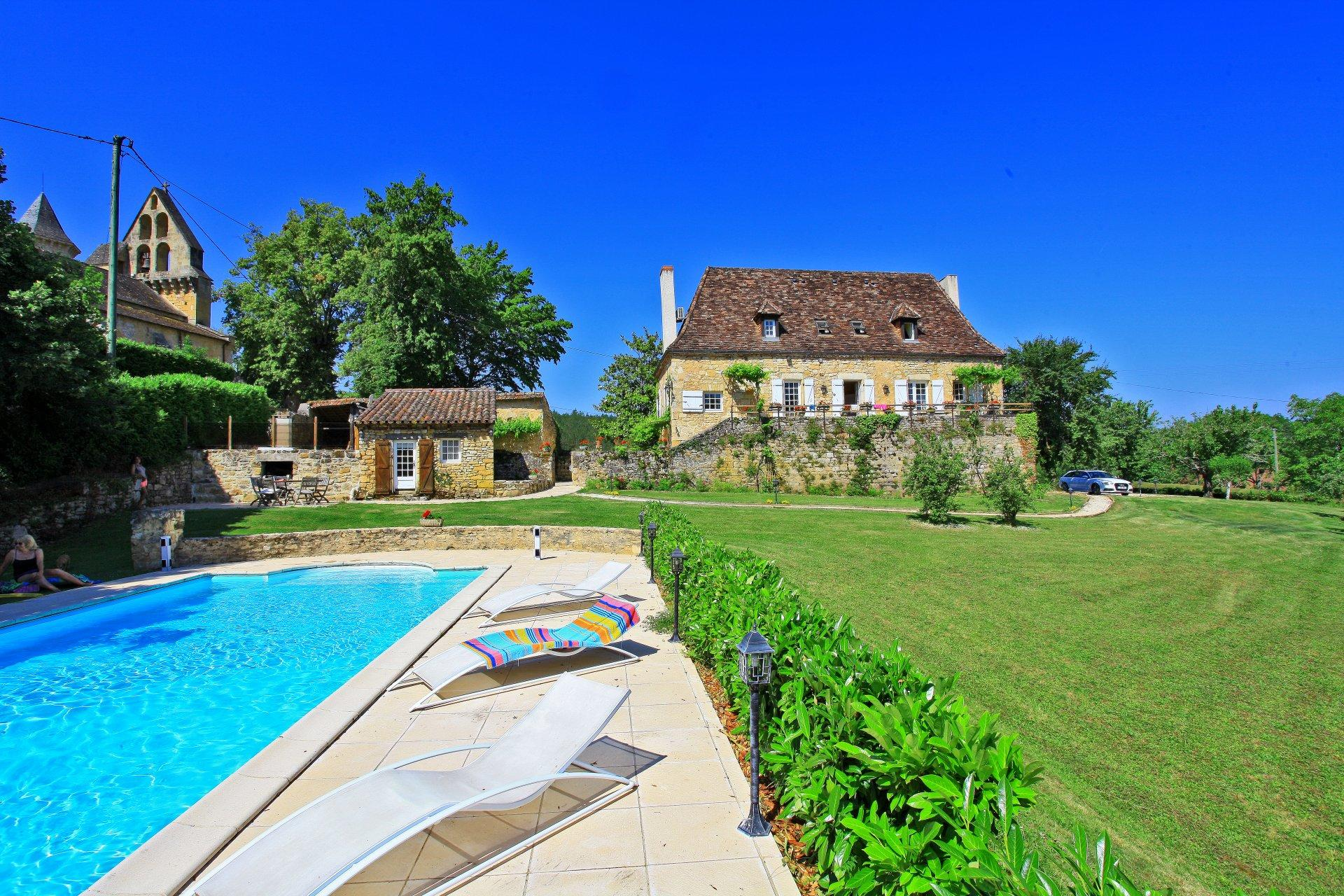 Villa Exterior and Pool, La Retraite, Nadaillac De Rouge, Dordogne.