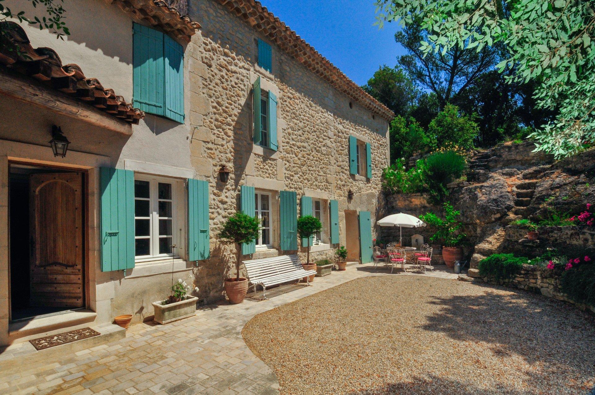Villa exterior and patio, Bastide St Restitut, Provence, St Restitut.