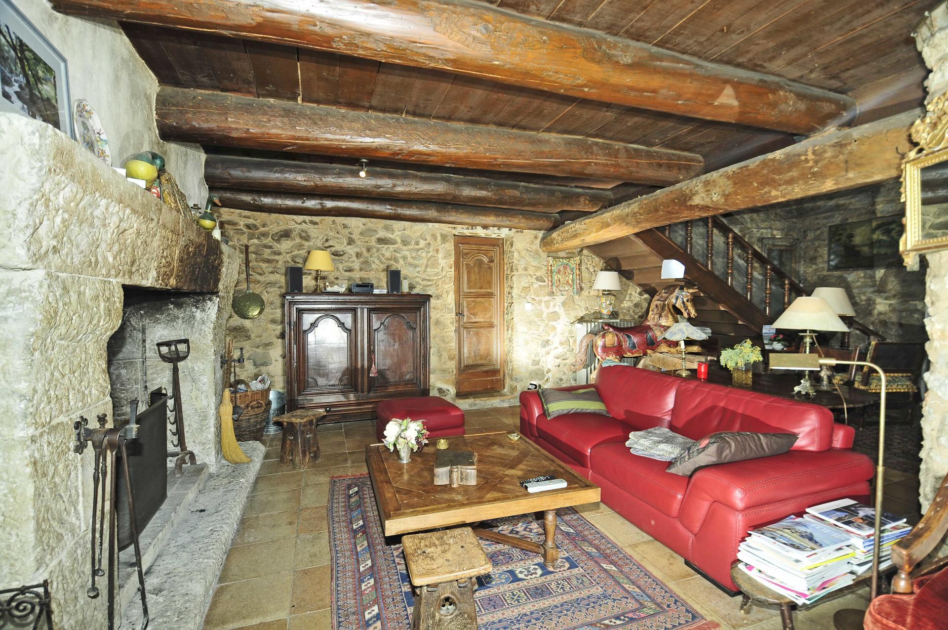 Living room with fireplace, Bastide De La Poesie, St Tropez Var, Plan De La Tour.