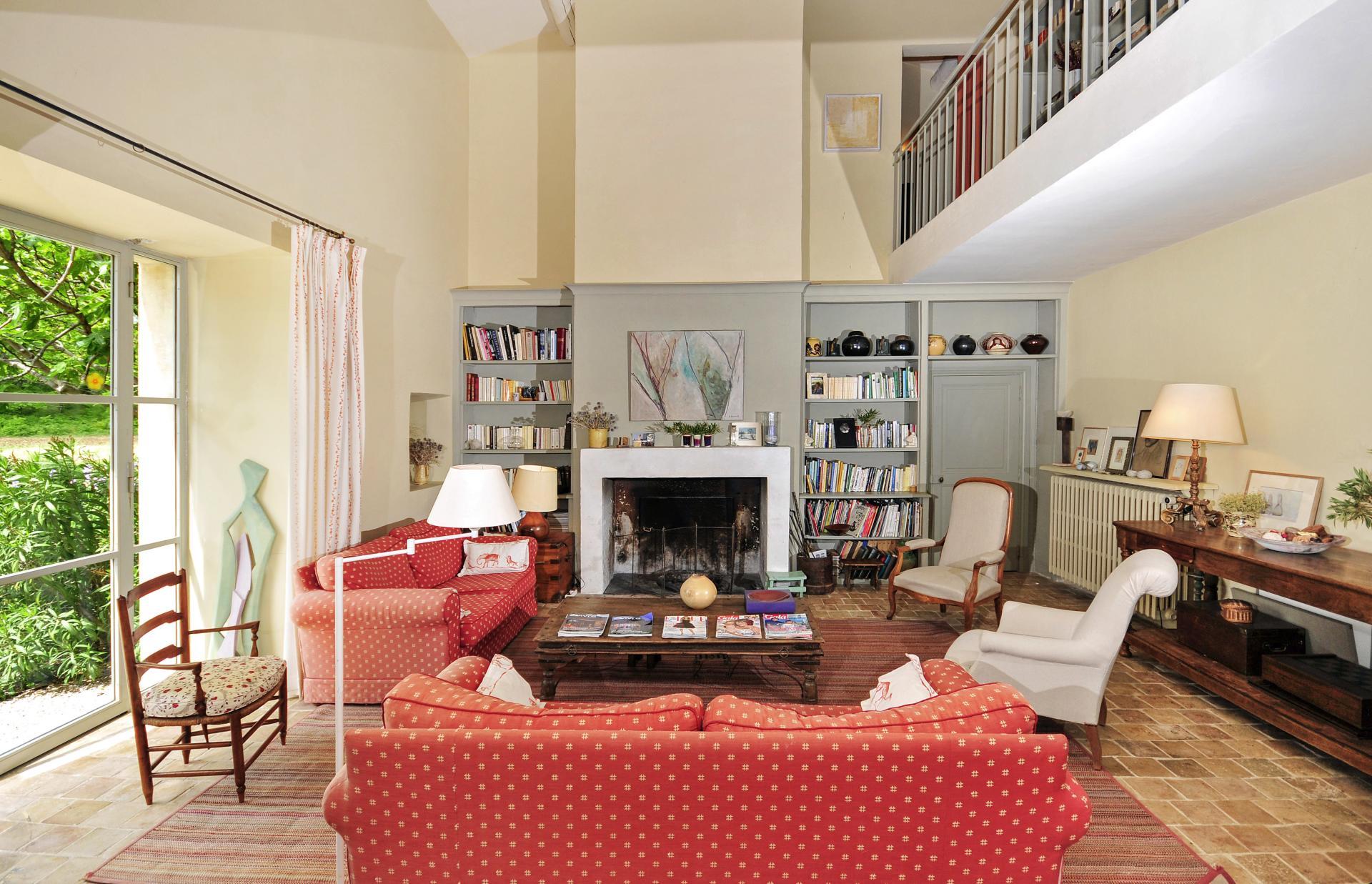 Lounge with Fireplace, Le Marronnier, Saignon, Provence.Living Room 2, Le Marronnier, Saignon, Prove