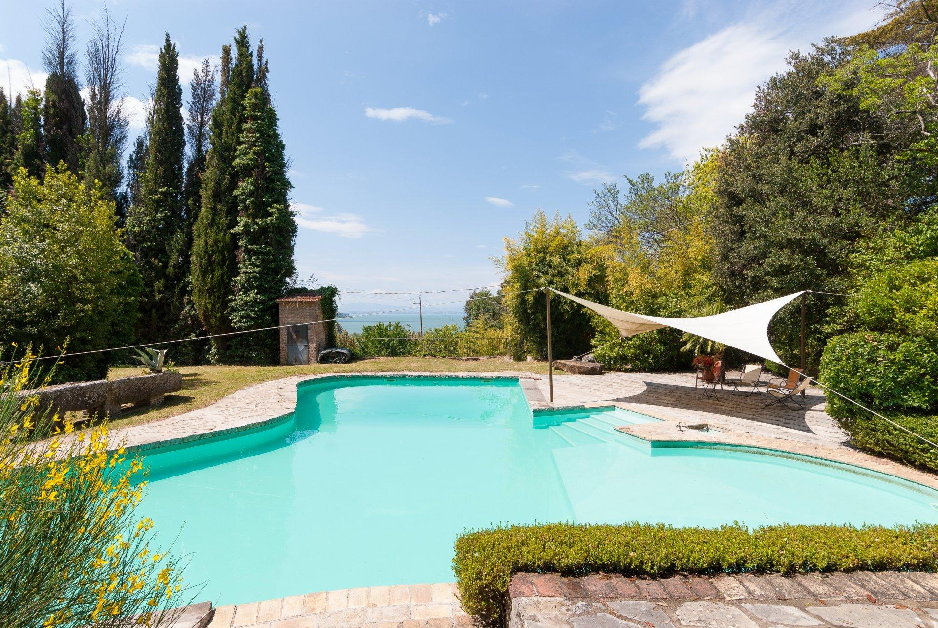 Outdoor pool, Castel Miralago, Umbria, Lake Trasimeno.