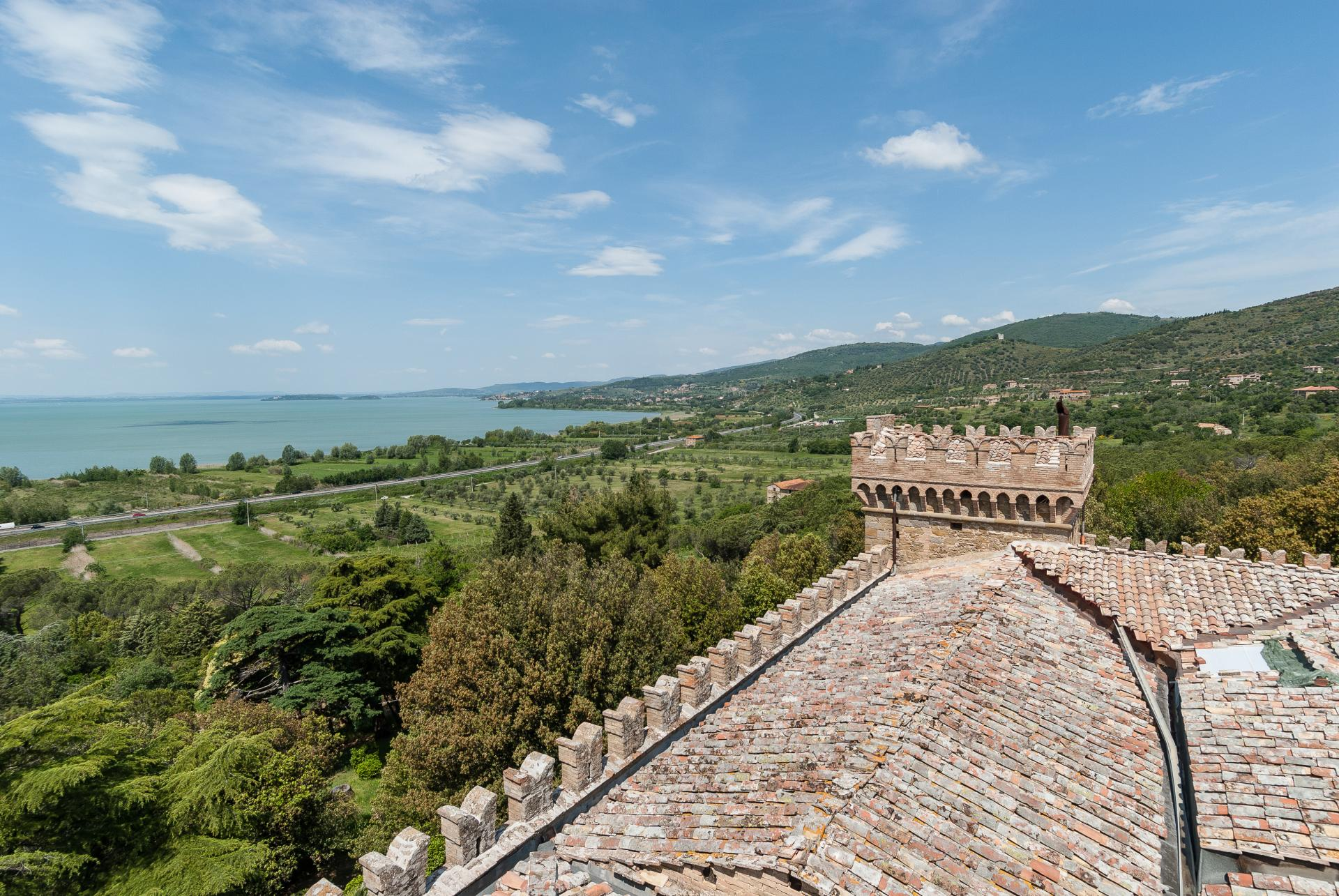 View from villa, Castel Miralago, Umbria, Lake Trasimeno.
