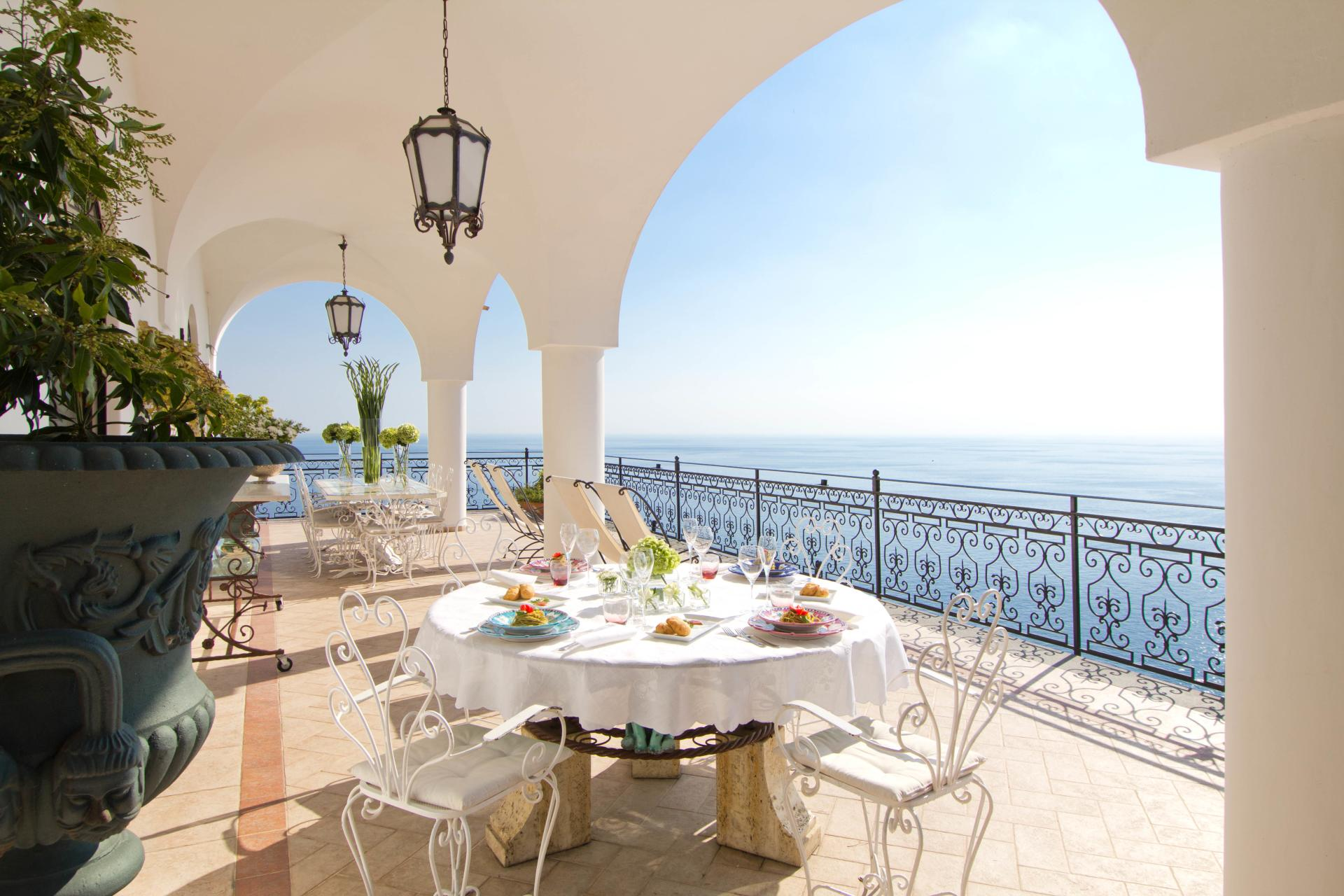 Outdoor Dining Area and View , La Scogliera, Positano, Amalfi Coast Campania.