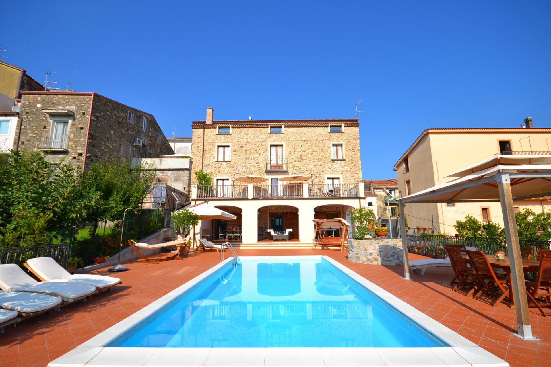 Villa Exterior and Pool, La Livunati, Vibonati, Cilento Coast, Amalfi Coast Campania.