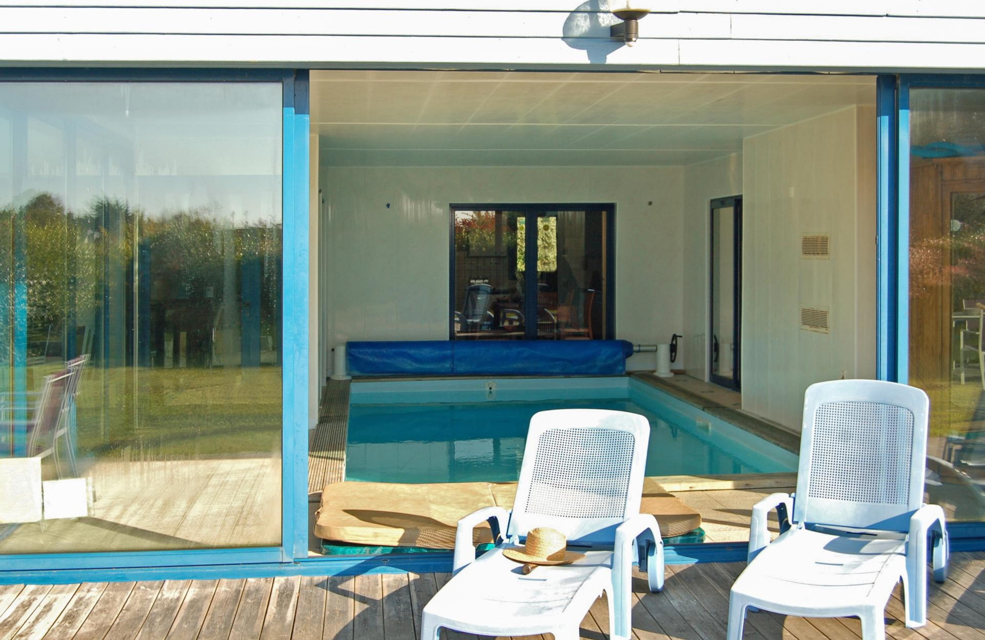 View of indoor pool from outside, Annick, Brittany, Moelan-sur-mer.
