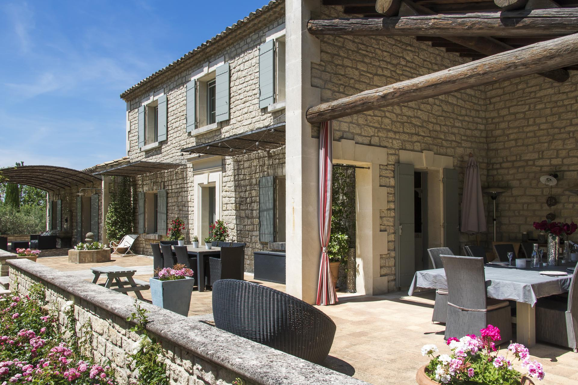 Large patio area with seating, Bastide Helene, Provence, St Remy-de-Provence.