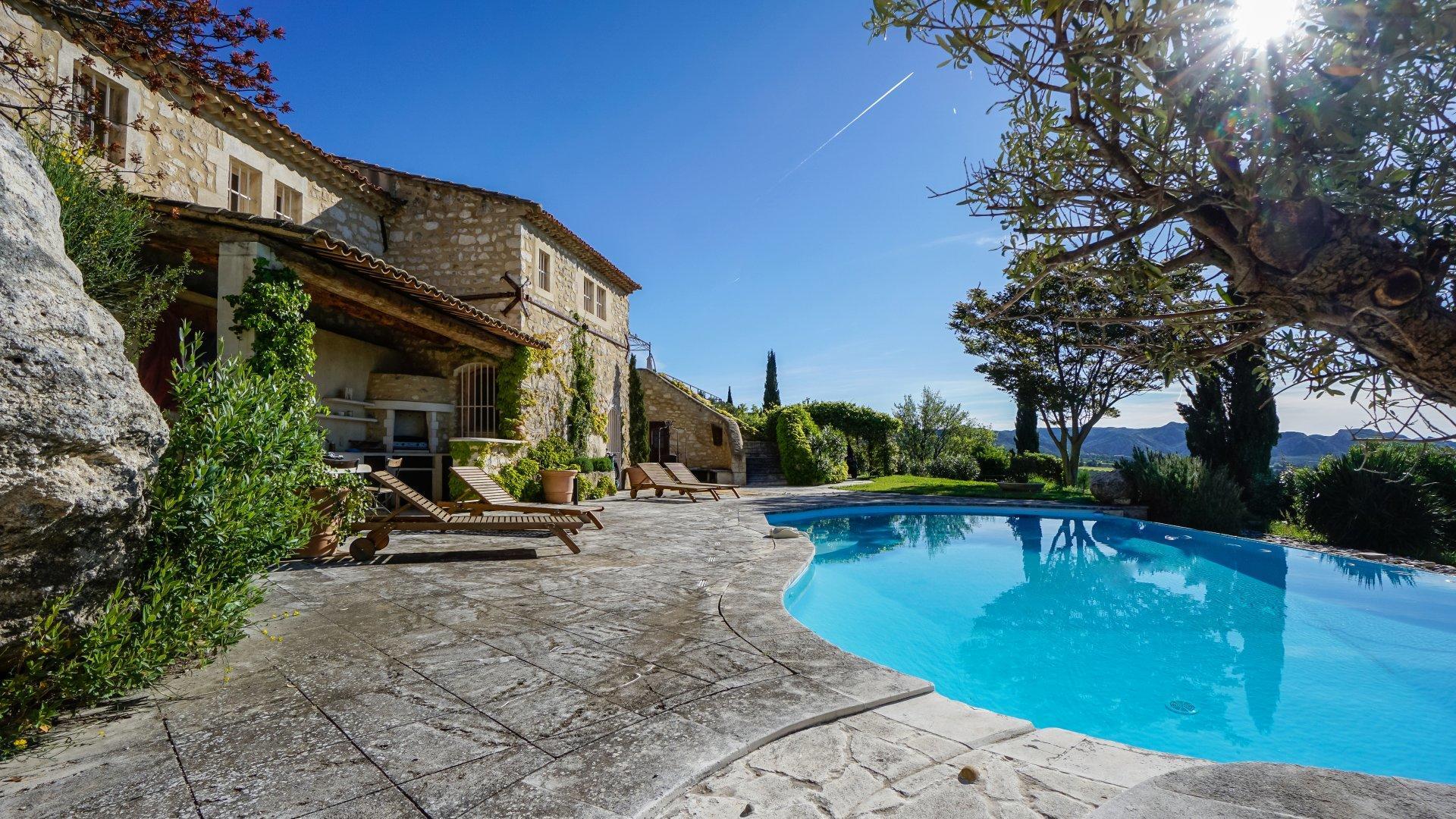 Villa Exterior and Pool, La Roche des Alpilles, Les Baux de Provence, Provence.