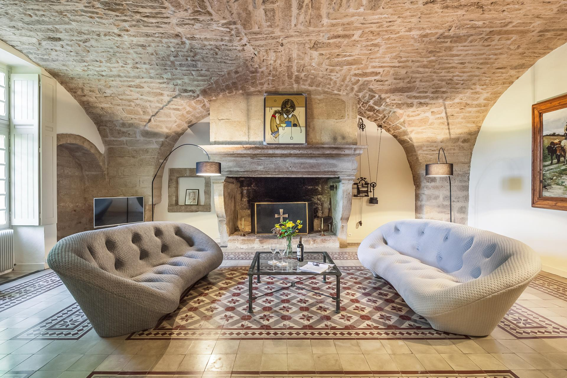 Lounge with Fireplace, Chateau Saint Martin, Montpellier, Languedoc.