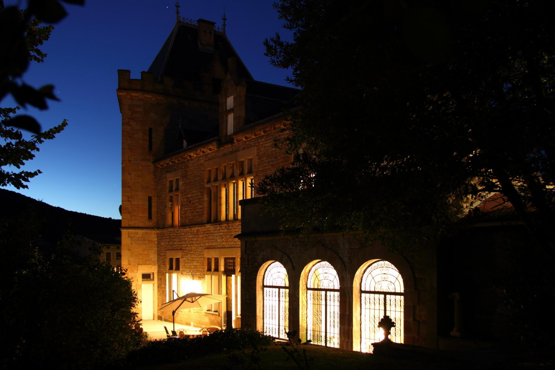 Villa Exterior Night, Chateau de Comtes, Chalabre, Languedoc.