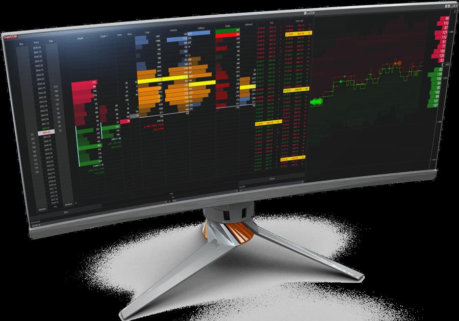NinjaTrader DOM with SuperDOM Series Columns and Limit Order Visualizer. Best solution for Orderflow Analysis.