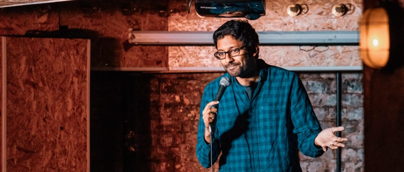 Me performing stand-up.