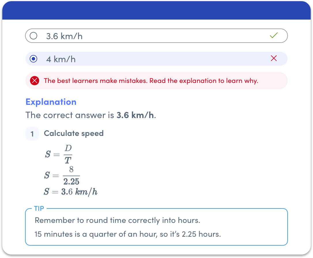 Explanation detailing how to calculate speed