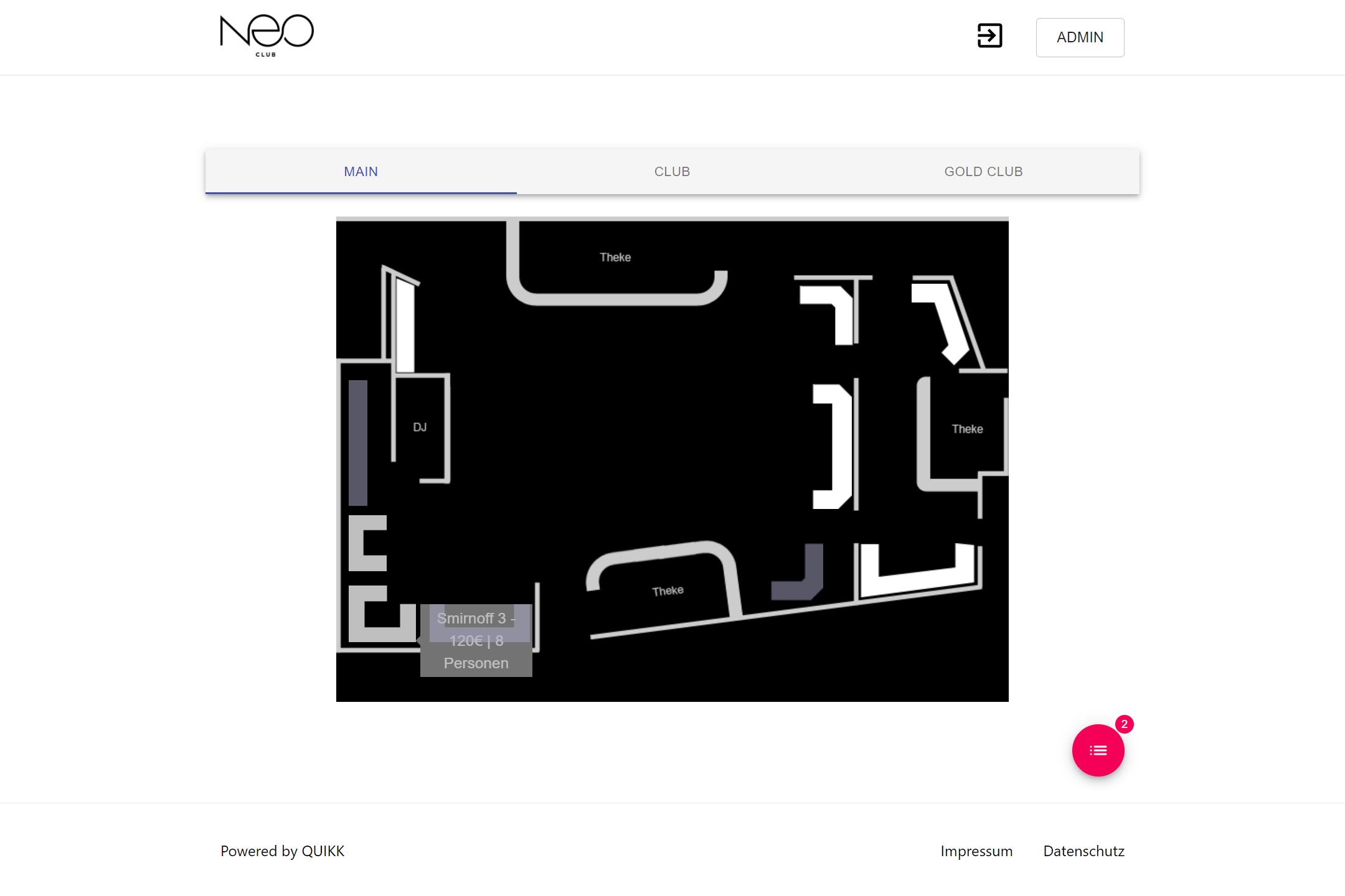 NEO Club: Online Buchungssystem