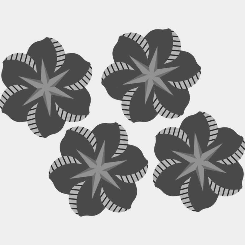 African Violets Pattern Blank Template
