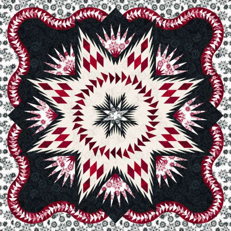 """Glacier Star in Black and Red ~ 60"""" x 60"""" ~ in Forever Collection by Timeless Treasures"""