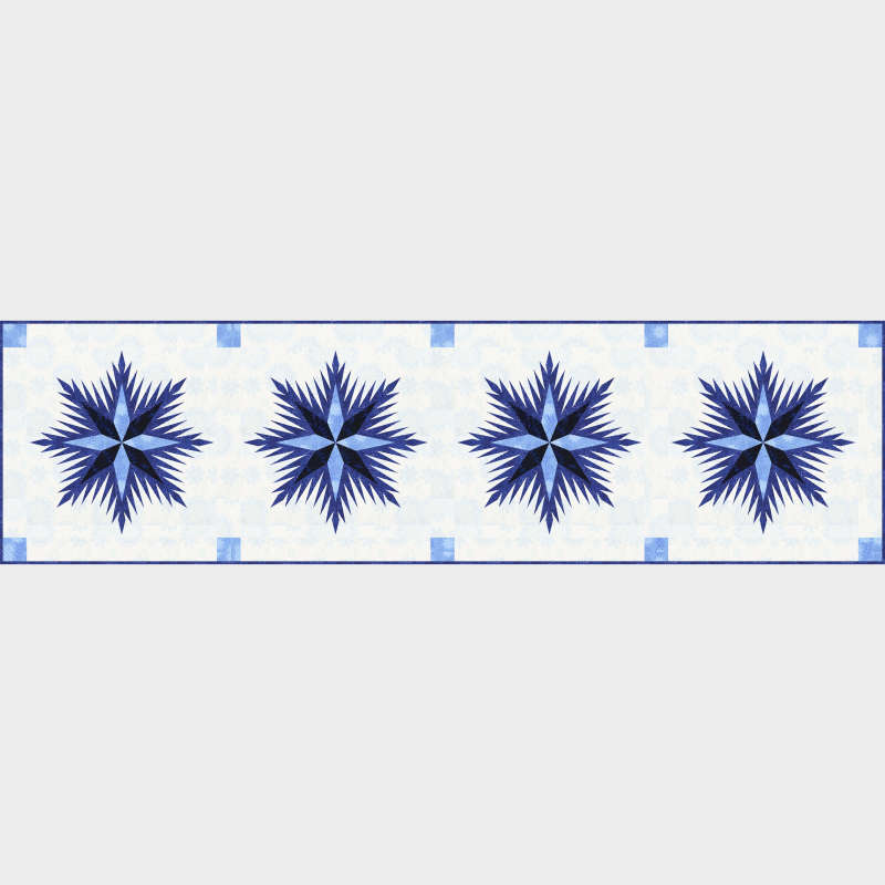 Winter Wonderland Table Runner in Bohemian Blues by Timeless Treasures