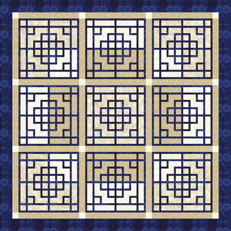 Chinese Lattice in Bohemian Blues by Timeless Treasures 75 x 75
