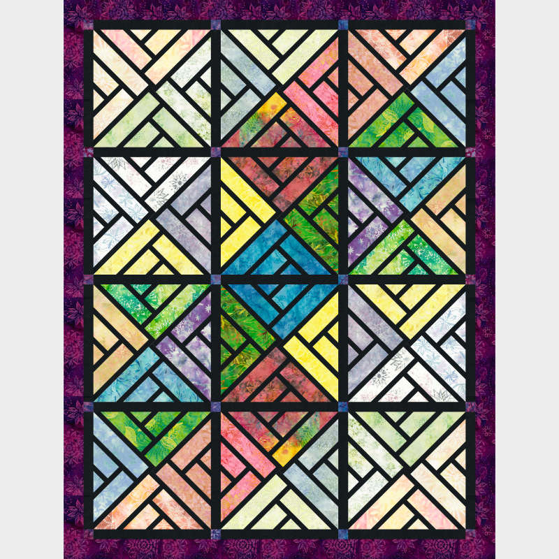 Stained Glass Window in half of  Prismatic Quiltworx Strip Set