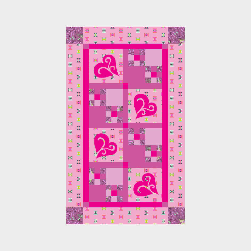 Snowy Hearts Table Runner in Tula Pink