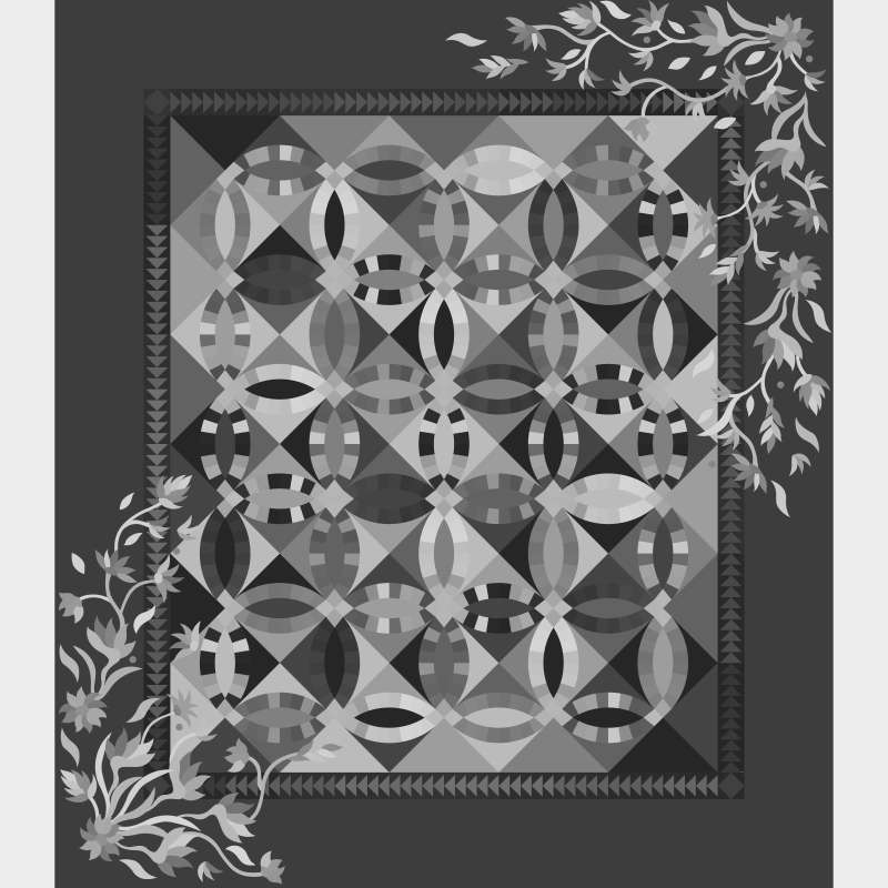Flowers For My Wedding Ring Pattern Applique Only Blank Template