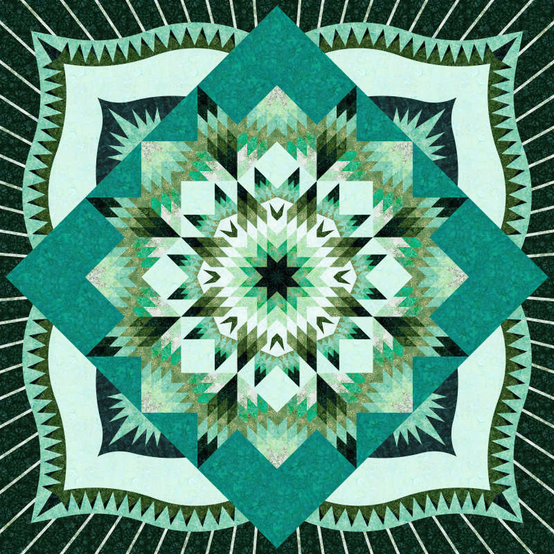 Starry Nights Queen in Emerald Mini Collection Timeless Treasures 99 x 99