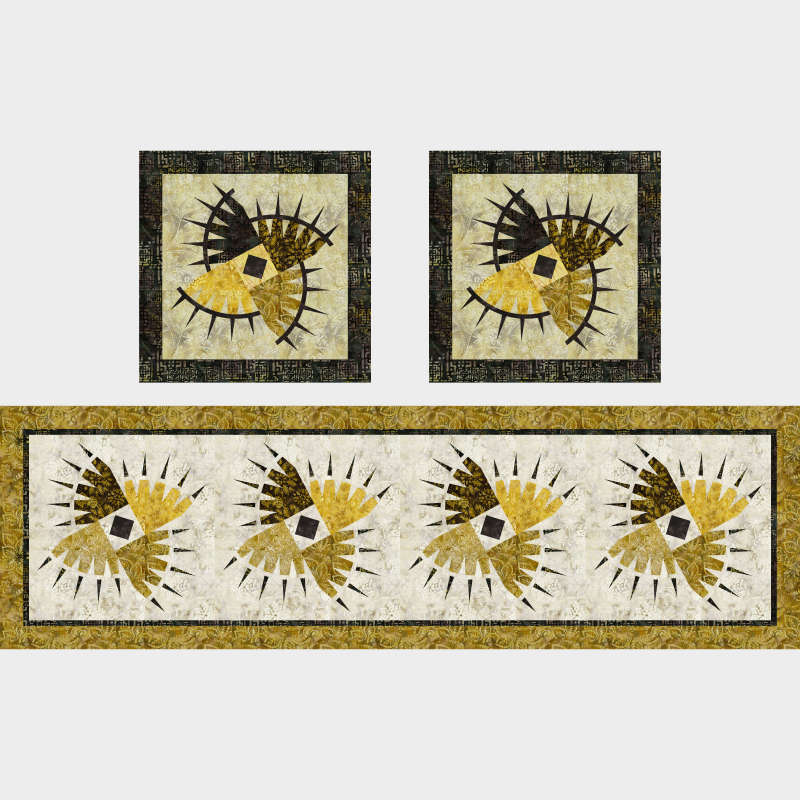 Rocky Mountain Bear Class Table Runner and Pillows in Gold Dust Tonga Mini Collection Timeless Treasures