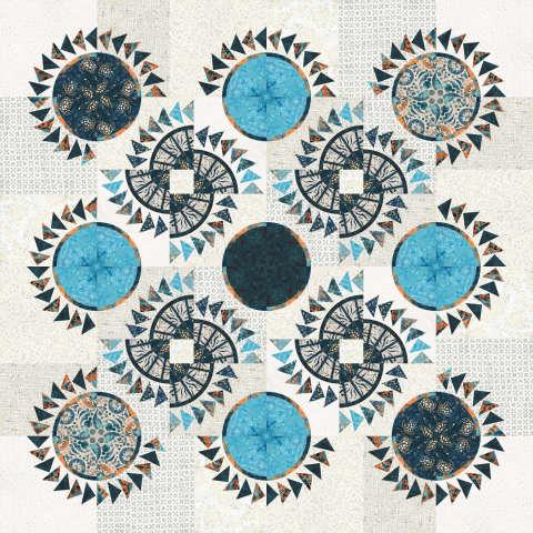"Nautical Porthole • 66"" Square Batik Textiles - Ocean Breeze"