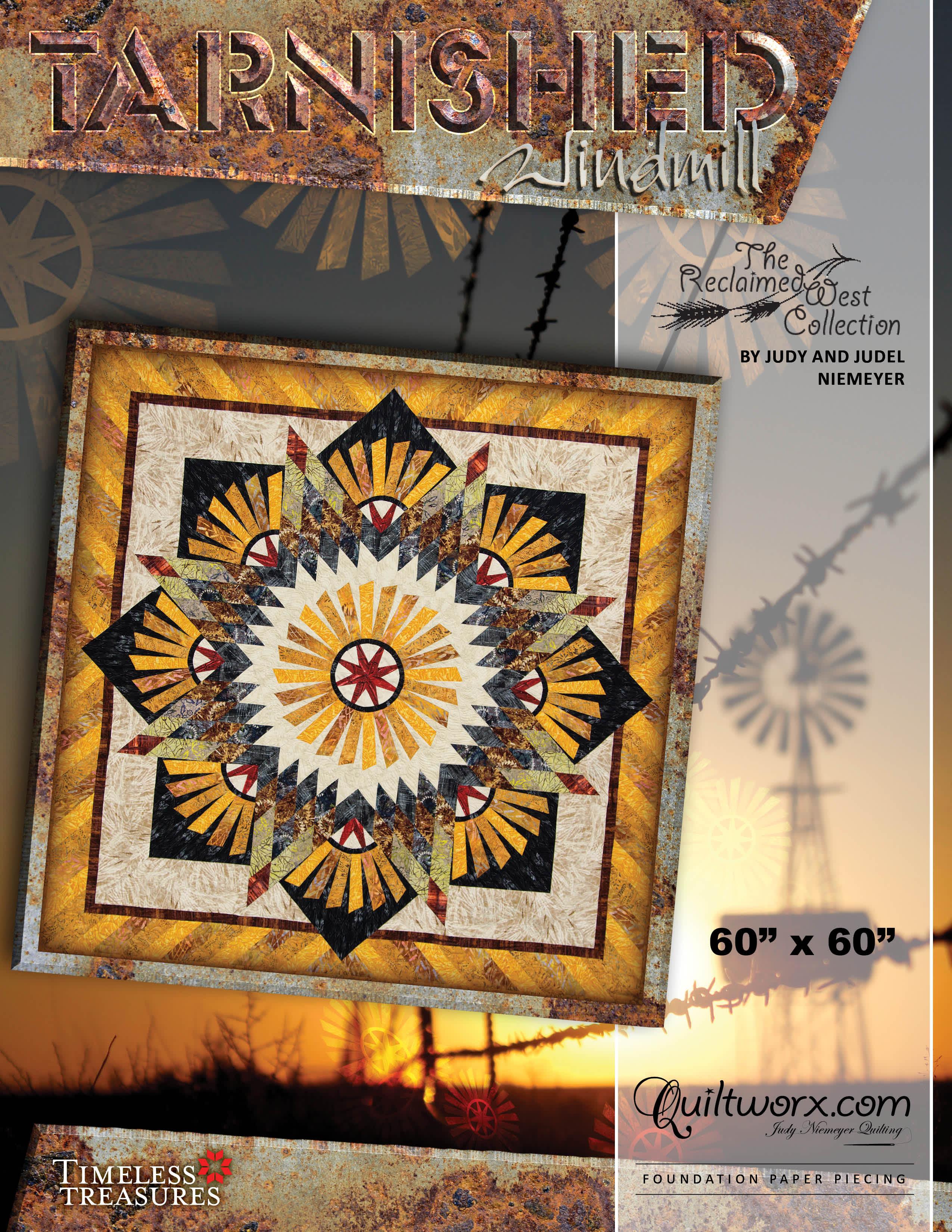 """Original Tarnished Windmill - 60"""" x 60"""""""