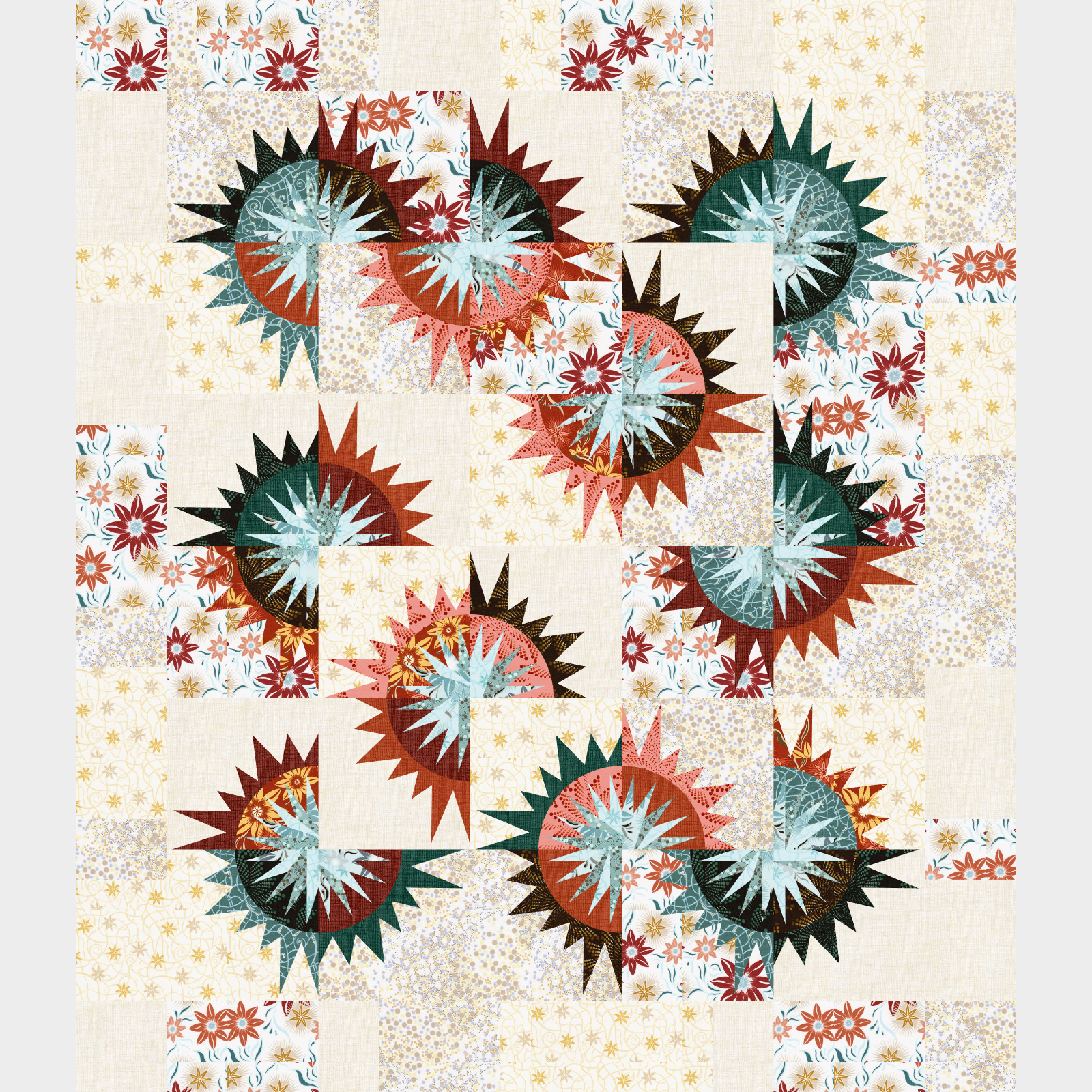 Sunflower Illusions in Desert rose • 62x72 • $160.00 Fabric Only $195.00 Kit with Pattern
