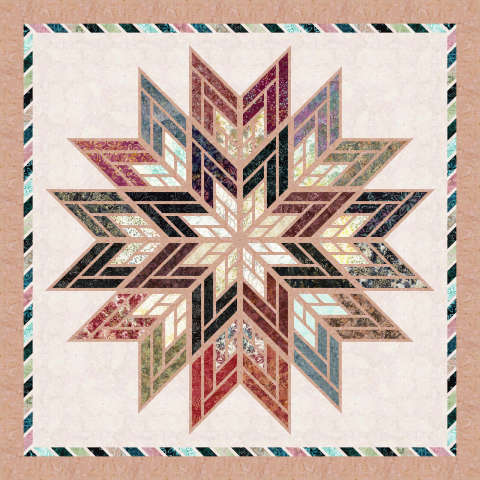 Fractured Star • 80x80 $158.00 Fabric Only $189.00 Kit with Replacement Papers $202.00 Kit with Pattern