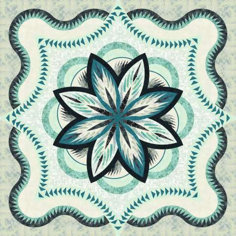 Sea Holly Queen • 100x100 • 2 Left • $355.00 Fabric Only $401.50 Kit with Replacement Papers • $437.50 • Kit with Pattern