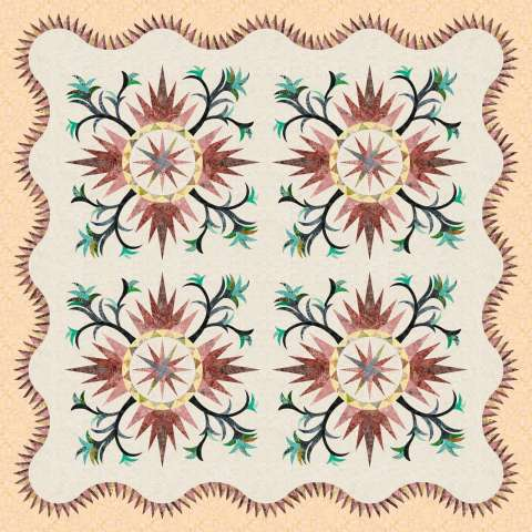 Cactus Rose 3 Left • 72x72 $225.00 Fabric Only $330.00 Kit with Pattern