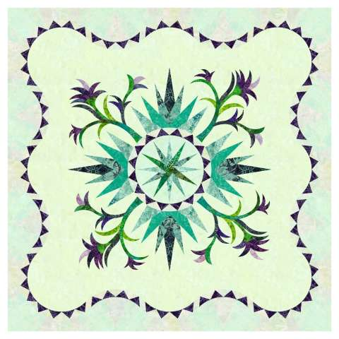 Pepperdish in Teals • 3 Left • 42x42 $109.00 Fabric Only Kit $144.25 $156.00 Kit with Pattern