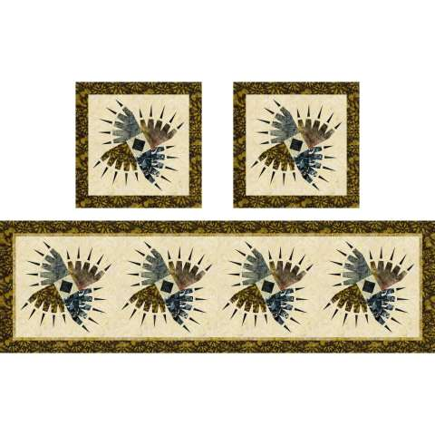 Rocky Mountain Bear Claw Table Runner & Pillows • 21x72 $172.00 Fabric Only Sale: $191.88 ($199.00) Kit with Pattern