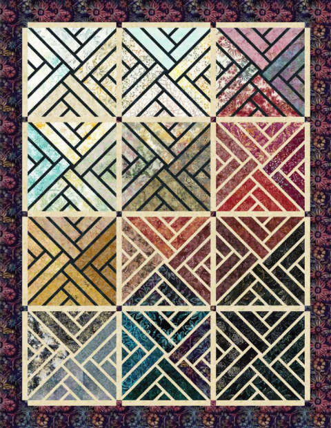 Fractured Paint Box • 60x77 $120.00Fabric Only Sale: $142.87 ($150.50) Kit with Pattern