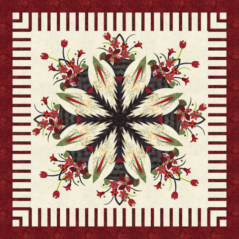 Poinsettia Bouquet 77x77• 3 Left $220.00 Fabric Only Sale (with free shipping): $292.75 ($317.00) Kit with Pattern