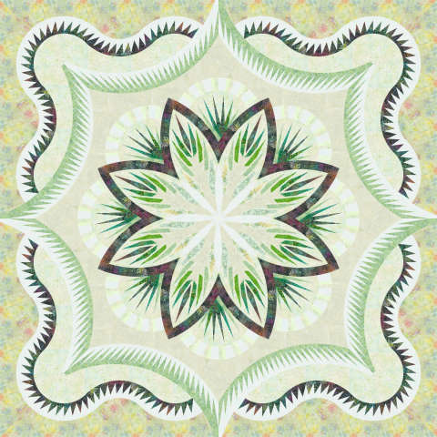 Snowy River Hosta 100x100 • 2 Left $399.00 Fabric Only Sale (with free shipping): $452.63 ($470.50) Kit with Pattern