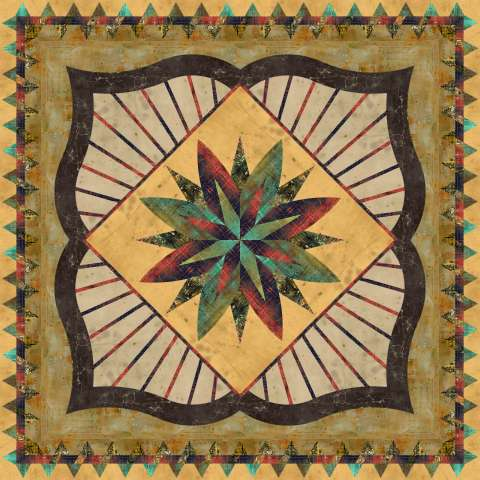 Mysterious Courtyard Wall • 68x68 • 3 Left $150.00 Fabric Only $201.50 Kit with Pattern