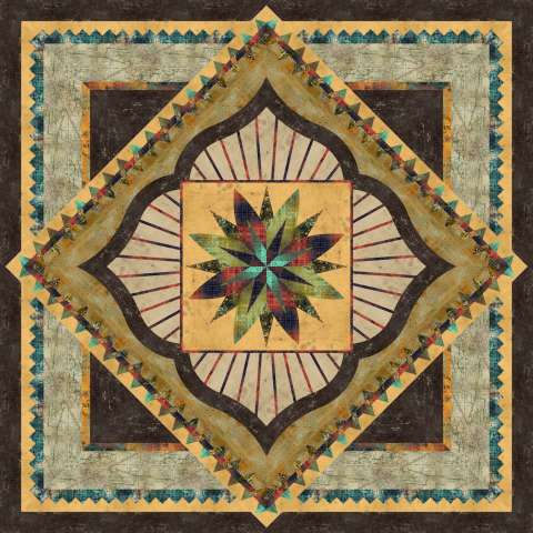 Mysterious Courtyard Queen • 99x99 • 2 Left $250.00 Fabric Only $335.00 Kit with Pattern