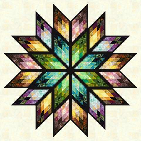 Prismatic Star 68x68 $115.00 Fabric Only Sale: $142.00 ($151.00) Kit with Pattern