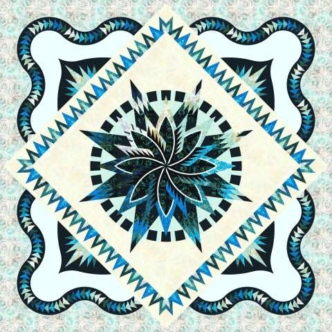 """Macaw Queen in Teals 99"""" Square 2 Left Fabric Only: $326.00 Kit with Pattern: $408.00"""