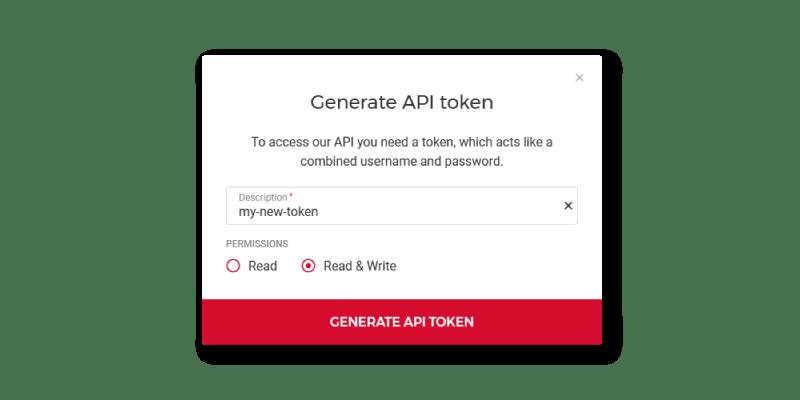 Generate New Token popup modal