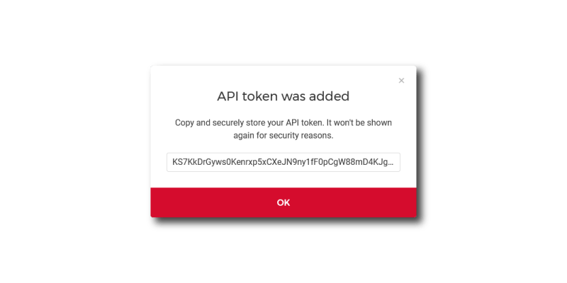 New Token Generated modal