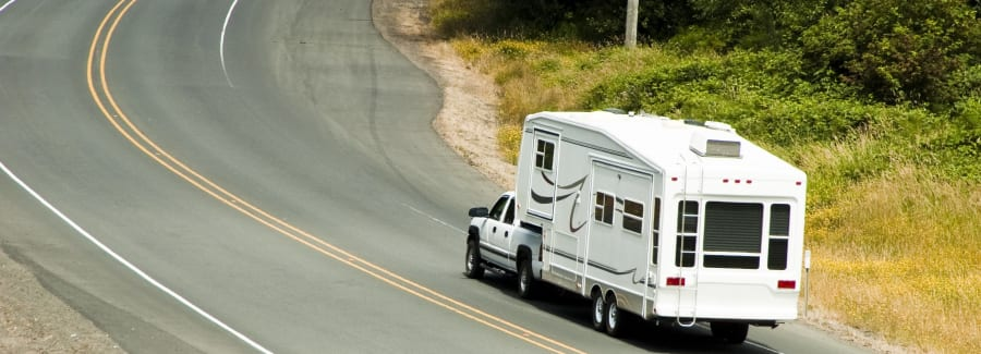 recreational vehicles traveling on the highway