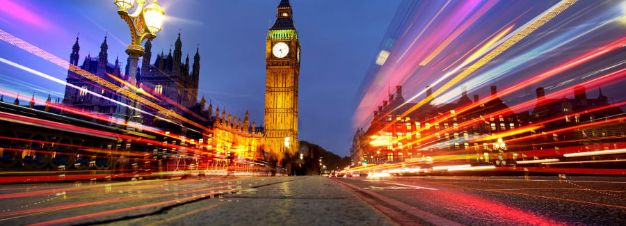London at Night with Big Ben and light trails.