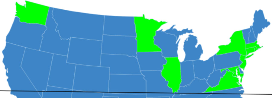 States with Least Traffic Fatalities on Map