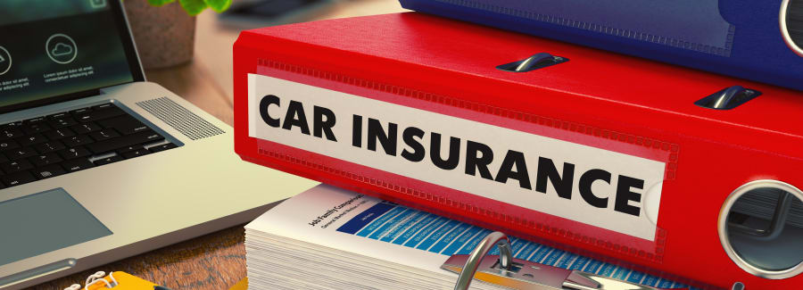 Red Office Folder with Inscription Car Insurance.
