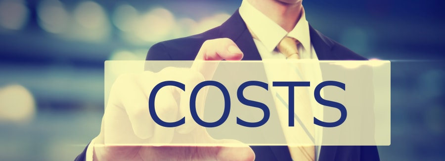 Business man holding Costs on blurred abstract background