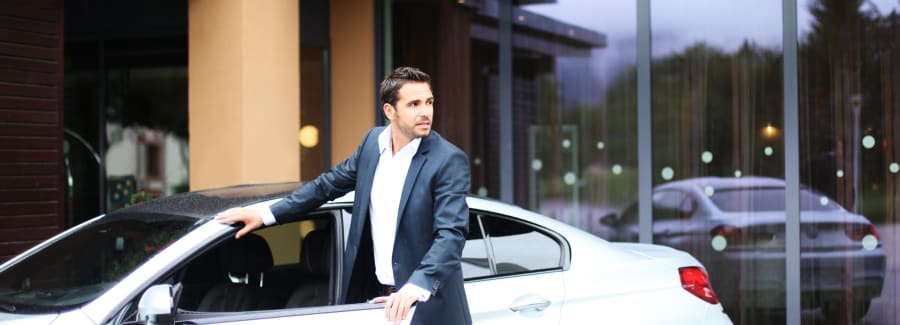 Business man with car